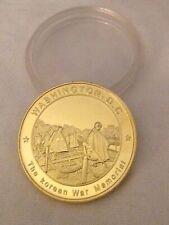 KOREA CHALLENGE COIN WAR MEMORIAL GOLD in CLEAR CASE WASHINGTON DC Military RARE