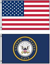 Wholesale Combo LOT 3' X 5' USA AMERICAN & US Navy Emblem Seal Crest 2 FLAG 3X5