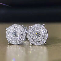 2.00 Ct Round Cut VVS1 Diamond Cluster Stud Earrings Solid 14K White Gold Over