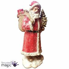 Gisela Graham Glitter Father Christmas Santa Claus Sack Ornament Xmas Decoration