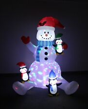 Christmas Air Blown Lighted Inflatable Yard Decoration Snowman w/ Cute Penguins