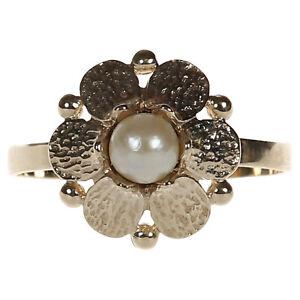 blütenförmiger Damen Ring in Gold 333 mit Akoya Perle Gr. 61 (D2421)