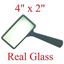 Magnifying REAL GLASS 4X Magnifier handheld rectangular reading coin stamp Large