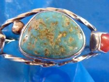 NATIVE AMERICAN NAVAJO STERLING  MINED TURQUOISE CORAL CUFF BRACELET 14K YG BEAD