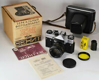 "EXC! 1982 EXPORT USSR ""ZENIT-EM"" SLR CAMERA + HELIOS-44m lens f2/58mm, FULL SET"