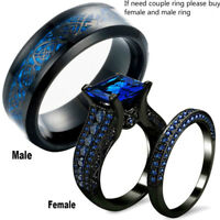 Charm Couple Wedding Ring Blue Sapphire Womens Ring Set&Titanium Steel Mens Band