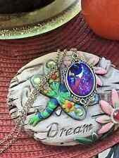 MEXICAN FIRE opal LARGE purple DRAGONS BREATH Necklace Pendant WEDDING CHRISTMAS
