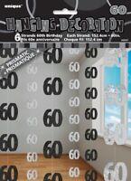 GLITZ BLACK 6 HANGING DECORATIONS 60TH BIRTHDAY 1.5M/5' BIRTHDAY PARTY SUPPLIES
