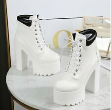 Women's Round Toe Ankle Riding Boots 14cm High Heels Platform Shoes T Stage Show