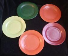 5 Vintage Hazel Atlas Ovide Platonite 7 Inch Salad Plates Mixed Colors