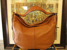 Ralph Lauren Handbag, Cognac Leather Hobo Tote, Slouch Style, with Fossil Wallet
