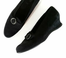 $395 ARCHE 39 FRANCE Black Leather Wedge Loafers *LOVLEY* Size 8.5