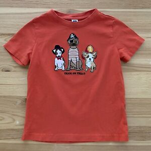 JANIE AND JACK Trick Or Treat Orange Dogs Tee Shirt Halloween Size 4 4T