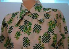 Nos Vtg Cream Green Geometric Checks Big Collar Disco Rockabilly Pimp M Shirt