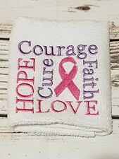 Embroidered Facewasher -Breast Cancer Pink Ribbon......pink and purple,,