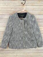 Ann taylor Womens Collarless Tweed Blazer Jacket Metallic One Button Career Sz M