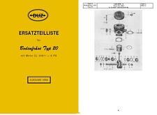Ersatzteilkatalog Ersatzteilliste DUZ Bodenfräse Typ 20 IFA DDR Einachser