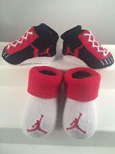 Nike Air Jordan 0-6 Months Baby Booties Infant Newborn Black Red 2 Pair Gift