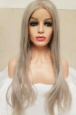 Grey Human Hair Wig, Lace Front Wig, Blonde Silver, Real Hair