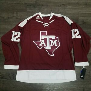ADIDAS TEXAS A&M AGGIES REPLICA HOCKEY JERSEY Mens SMALL Stitched 12th Man