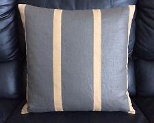 New, Pierre Frey - Thompson Ebene Designer Throw Pillow with Leather Embroidery.