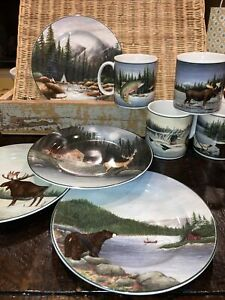Sakura Table Northwoods David Carter Brown Lot 8 Pc, 4 mugs & 4 dessert plates