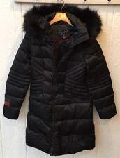 1 MADISON Womens Luxe Down & Feather Fill Faux Fur Walker Coat BLACK Medium NWOT