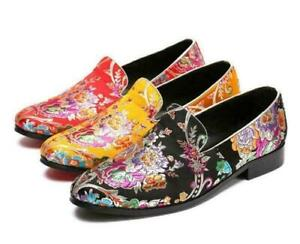 3 Color New Trendy British Chic Men's Slip On Formal Embroidery Dress Shoes Lady