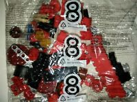 Lego bag 8 red, black and maroon bricks with tires