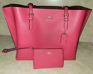 Coach Mollie Tote Purse Laptop Bag Pink Leather + Zip Wristlet NWT $456