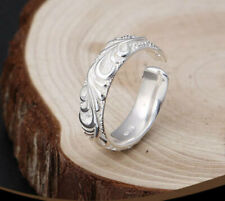 D07 Anneau Spirales Boucles Style Antique Sterling Argent 925 Taille Ajustable