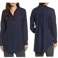 Eileen Fisher 1X Tunic Navy Blue Organic Linen Button Down Relaxed Fit Shirt Top