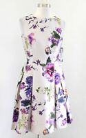 NWT Tahari ASL Levine Taupe Floral Fit and Flare Pleated Cocktail Party Dress 4