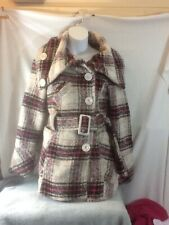 Cute Woman's Sz Sm ROUTE 66 Ivory Pink & Black Plaid Belted Winter Coat NICE