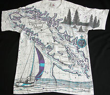 Rare Vtg 90s Vancouver Island Map Graphic Scenic Sailing T Shirt M Yacht