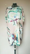 NEXT Size 16 Blush Pink Brushstroke Print Lagenlook Tunic Shift Dress.VGC