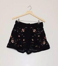 Topshop Black Velvet Floral Embroidered Hotpants Shorts UK 4
