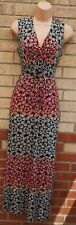 PER UNA BLACK RED WHITE FLORAL BELTED V NECK BOHEMIAN LONG MAXI DRESS 10 S