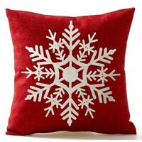 "Snowflake Christmas Gifts flax Throw Pillow Case Cushion Cover 18 X 18"" E6S7"