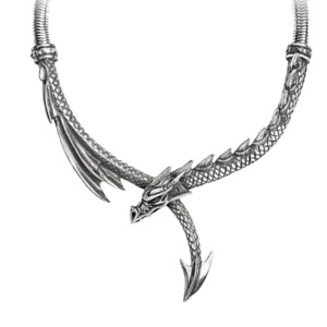 ALCHEMY DRAGON'S LURE SOLID PEWTER SPINED DRAGON NECKLACE Thick Snake Chain