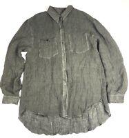 Sandrine Rose Olive Green Crinkle Button Up Long Sleeve Women's top shirt