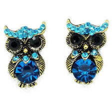 Retro Earrings Antique Jewlry Vintage Ear Studs Owl Gold Plated Blue Crystal