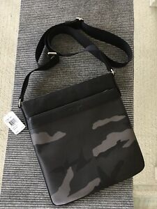 Coach Mens Bowery Crossbody Bag Printed PVC Leather Trim Grey Camo Bag NWT $295