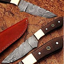 Japanese 1095 HC & 15N20 Alloy Steel Handmade Damascus Hunting Knife Wood Handle