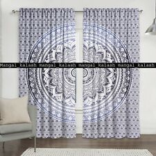 Indian Curtain Grey Ombre Bohemian Cotton Hanging Drapes Window Home Treatments