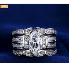 New White gold plated luxury 3 piece zircon wedding/engagement ring/size 7/#112
