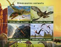 Chad 2018 MNH Flying Dinosaurs 4v M/S Dinosaur Stamps