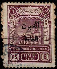 Syria, 6p purple revenue stamp used.