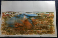 Vintage Large Original Signed Abstract Desert Surreal Painting P. Lecourt 1987
