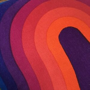 Vintage MCM Verner Panton Pillow Cover Mira X Spectrum Curve Fabric Double Sided